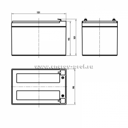 Размер АКБ Парус HM-12-12