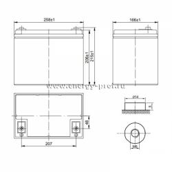 Размер АКБ Парус HM-12-75