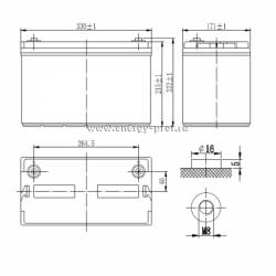 Размер АКБ Парус Электро HML-12-100
