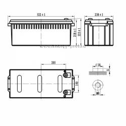 Размер АКБ Парус Электро HML-12-200