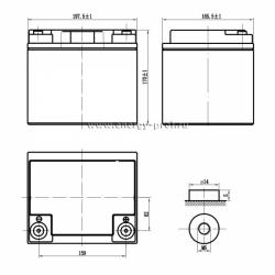Размер АКБ Парус Электро HML-12-40