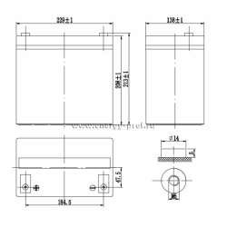 Размер АКБ Парус Электро HML-12-55