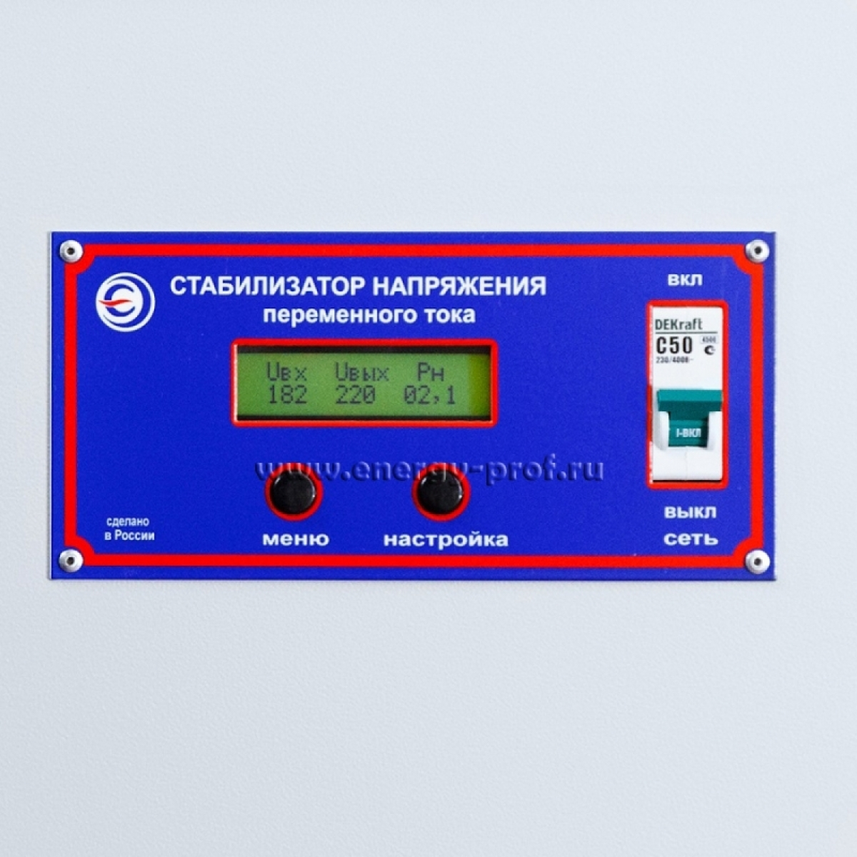Однофазный стабилизатор PROGRESS 10000T-20, дисплей